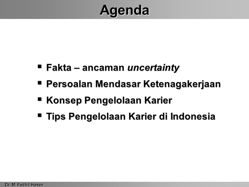 Agenda Dr. M.