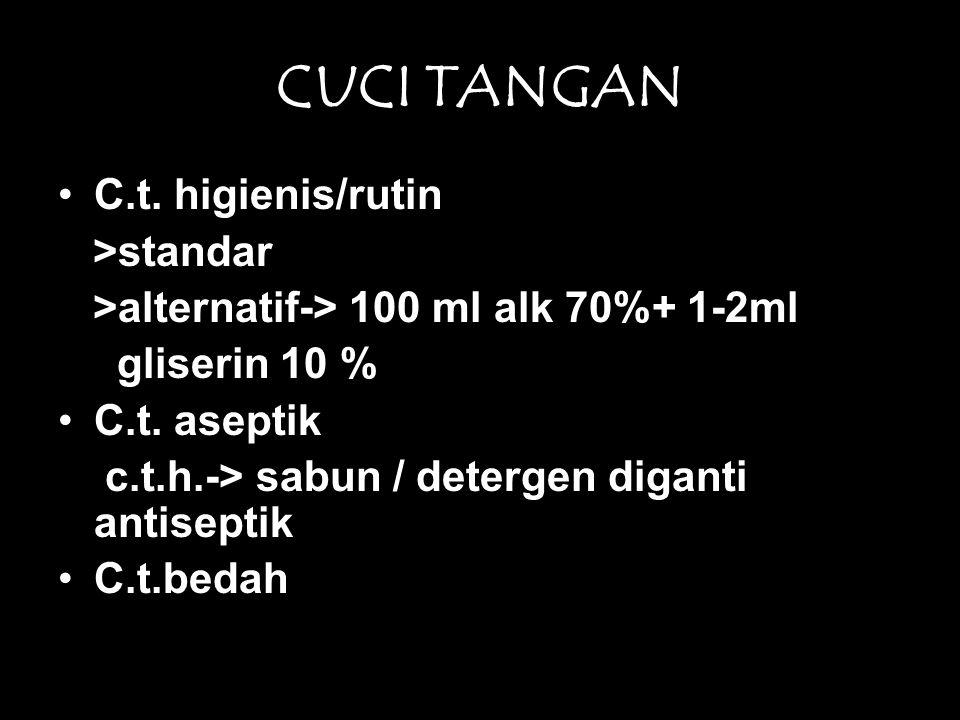 CUCI TANGAN •C.t. higienis/rutin >standar >alternatif-> 100 ml alk 70%+ 1-2ml gliserin 10 % •C.t. aseptik c.t.h.-> sabun / detergen diganti antiseptik