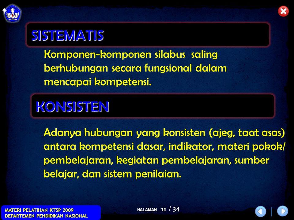 HALAMAN / 34 MATERI PELATIHAN KTSP 2009 DEPARTEMEN PENDIDIKAN NASIONAL 11 Komponen-komponen silabus saling berhubungan secara fungsional dalam mencapai kompetensi.