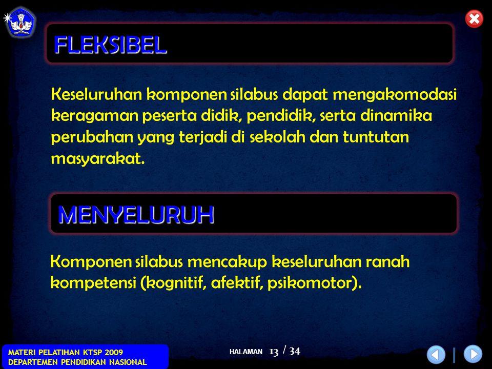 HALAMAN / 34 MATERI PELATIHAN KTSP 2009 DEPARTEMEN PENDIDIKAN NASIONAL 13 Keseluruhan komponen silabus dapat mengakomodasi keragaman peserta didik, pe