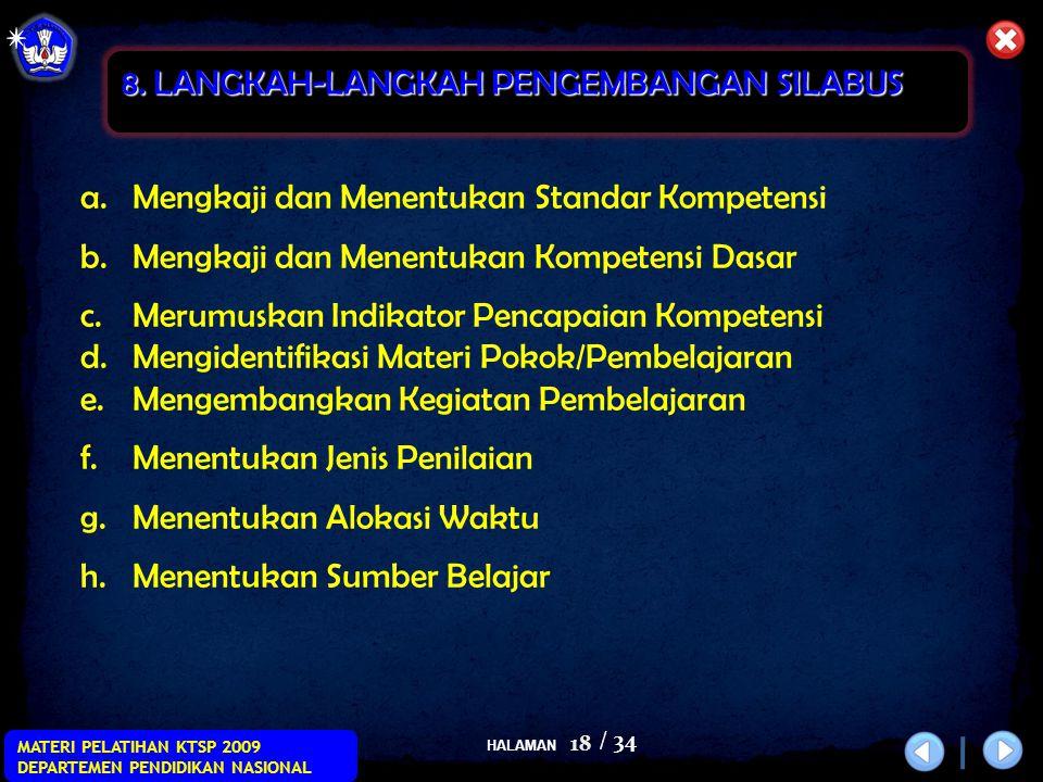 HALAMAN / 34 MATERI PELATIHAN KTSP 2009 DEPARTEMEN PENDIDIKAN NASIONAL 18 a.Mengkaji dan Menentukan Standar Kompetensi b.Mengkaji dan Menentukan Kompe
