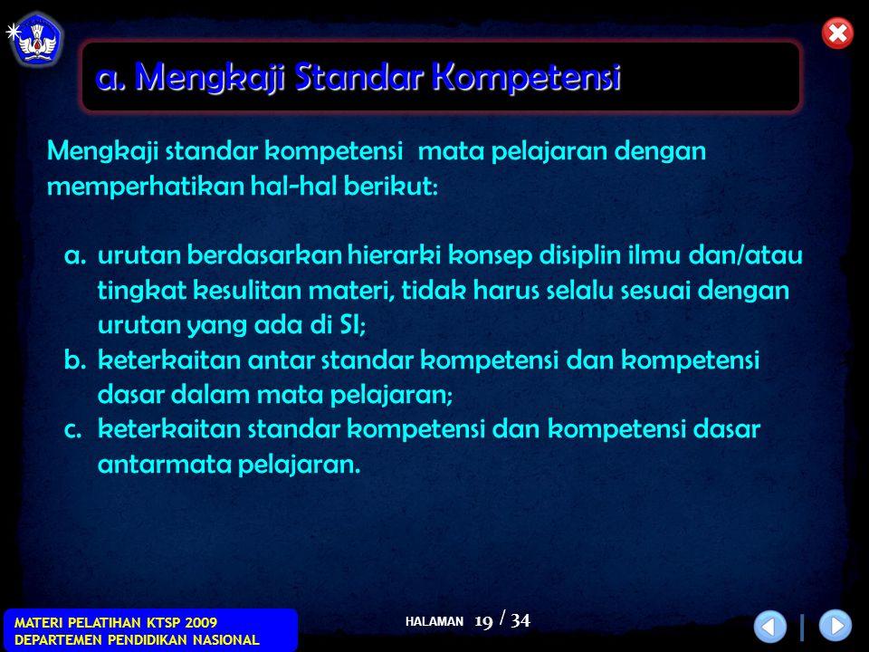 HALAMAN / 34 MATERI PELATIHAN KTSP 2009 DEPARTEMEN PENDIDIKAN NASIONAL 19 Mengkaji standar kompetensi mata pelajaran dengan memperhatikan hal-hal beri