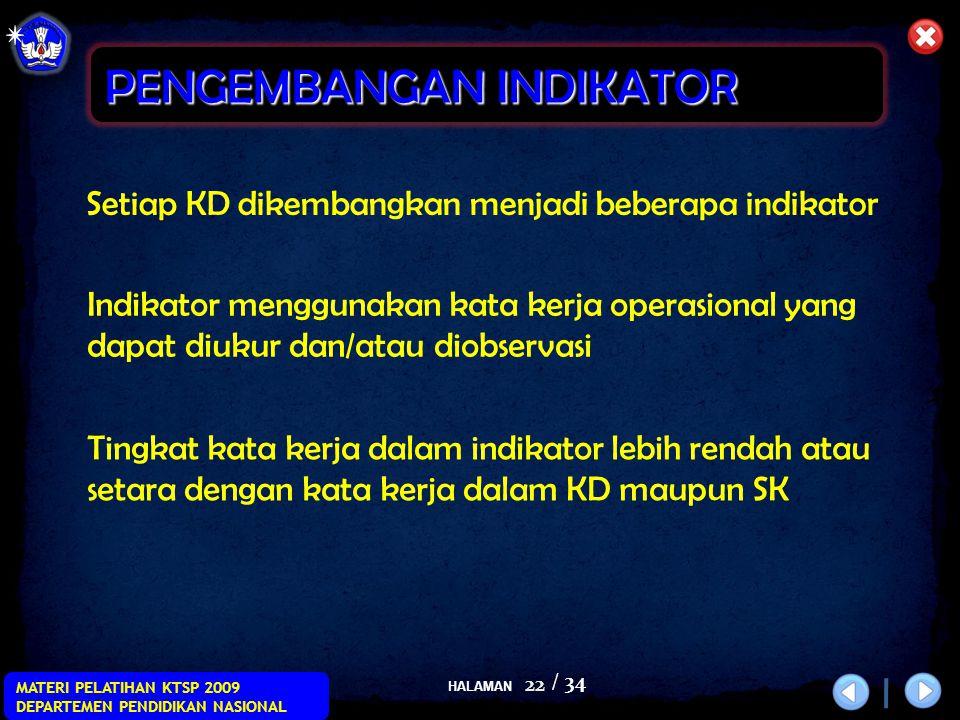HALAMAN / 34 MATERI PELATIHAN KTSP 2009 DEPARTEMEN PENDIDIKAN NASIONAL 22 Setiap KD dikembangkan menjadi beberapa indikator Indikator menggunakan kata kerja operasional yang dapat diukur dan/atau diobservasi Tingkat kata kerja dalam indikator lebih rendah atau setara dengan kata kerja dalam KD maupun SK PENGEMBANGAN INDIKATOR