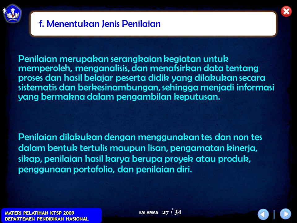 HALAMAN / 34 MATERI PELATIHAN KTSP 2009 DEPARTEMEN PENDIDIKAN NASIONAL 27 Penilaian dilakukan dengan menggunakan tes dan non tes dalam bentuk tertulis