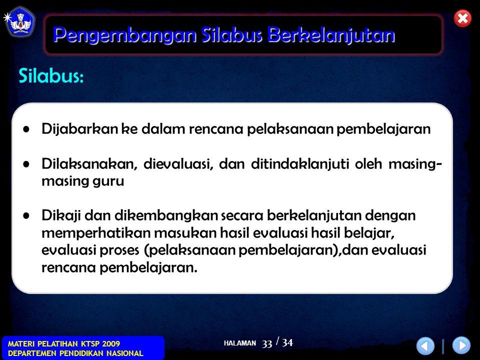 HALAMAN / 34 MATERI PELATIHAN KTSP 2009 DEPARTEMEN PENDIDIKAN NASIONAL 33 Silabus: Pengembangan Silabus Berkelanjutan •Dijabarkan ke dalam rencana pel