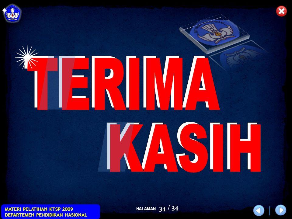 HALAMAN / 34 MATERI PELATIHAN KTSP 2009 DEPARTEMEN PENDIDIKAN NASIONAL 34