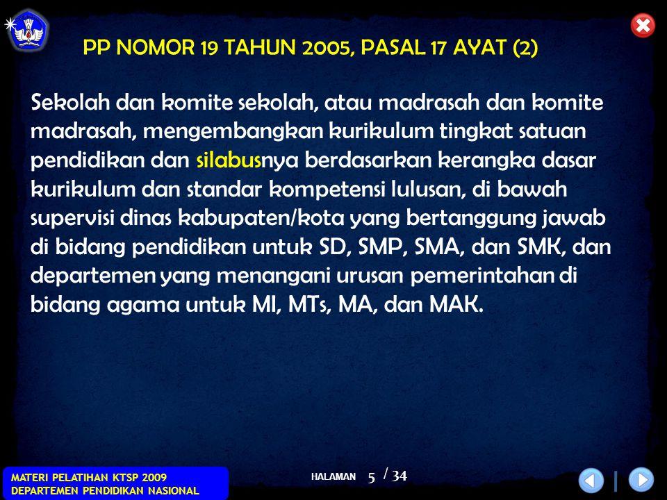 HALAMAN / 34 MATERI PELATIHAN KTSP 2009 DEPARTEMEN PENDIDIKAN NASIONAL 16 1.Standar Kompetensi 2.Kompetensi Dasar 3.Indikator 4.Materi Pokok/Pembelajaran 5.Kegiatan Pembelajaran (mengacu pada indikator) 6.Penilaian 7.Alokasi Waktu 8.Sumber Belajar Catatan: Indikator dikembangkan berdasarkan KD.