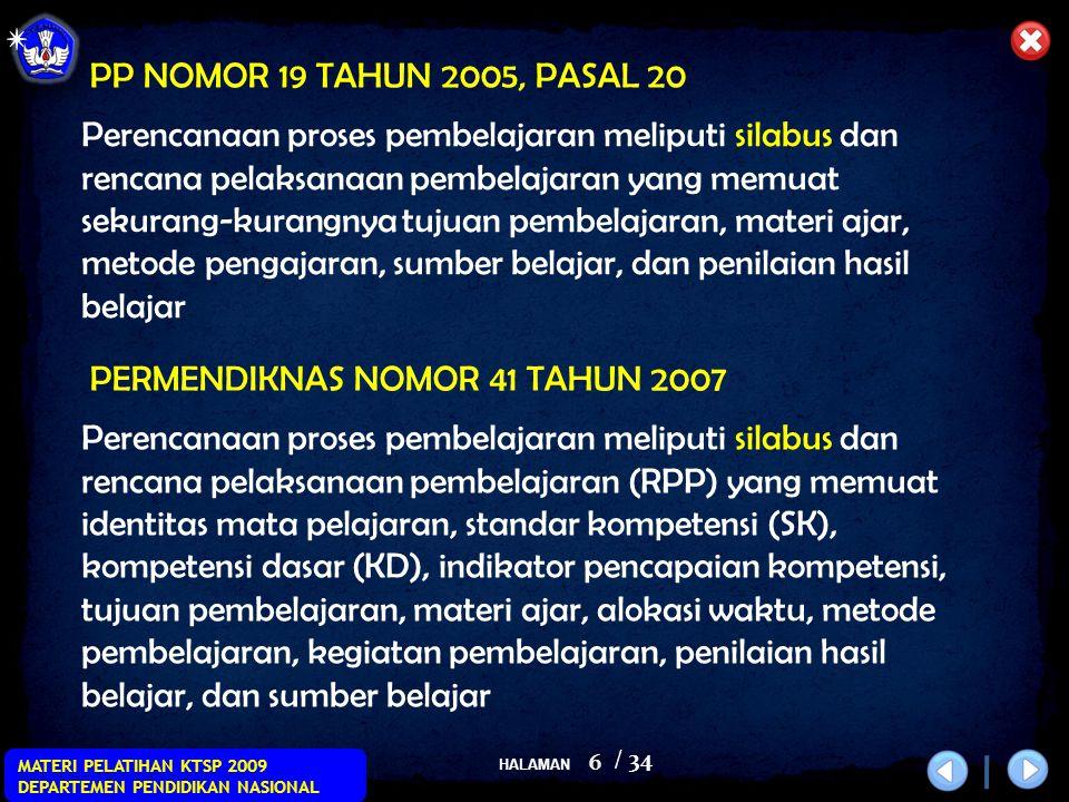 HALAMAN / 34 MATERI PELATIHAN KTSP 2009 DEPARTEMEN PENDIDIKAN NASIONAL 6 Perencanaan proses pembelajaran meliputi silabus dan rencana pelaksanaan pemb