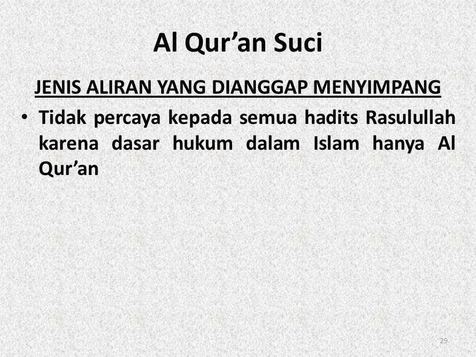 Al Qur'an Suci JENIS ALIRAN YANG DIANGGAP MENYIMPANG • Tidak percaya kepada semua hadits Rasulullah karena dasar hukum dalam Islam hanya Al Qur'an 29