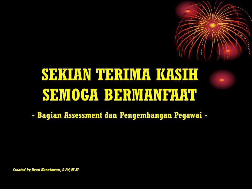 SEKIAN TERIMA KASIH SEMOGA BERMANFAAT - Bagian Assessment dan Pengembangan Pegawai - Created by.Iwan Kurniawan, S.Pd, M.Si