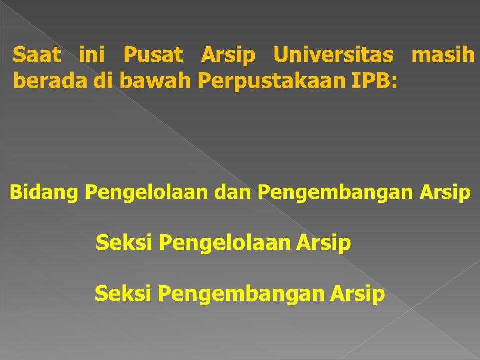 Bidang Pengelolaan dan Pengembangan Arsip Seksi Pengelolaan Arsip Seksi Pengembangan Arsip Saat ini Pusat Arsip Universitas masih berada di bawah Perpustakaan IPB: