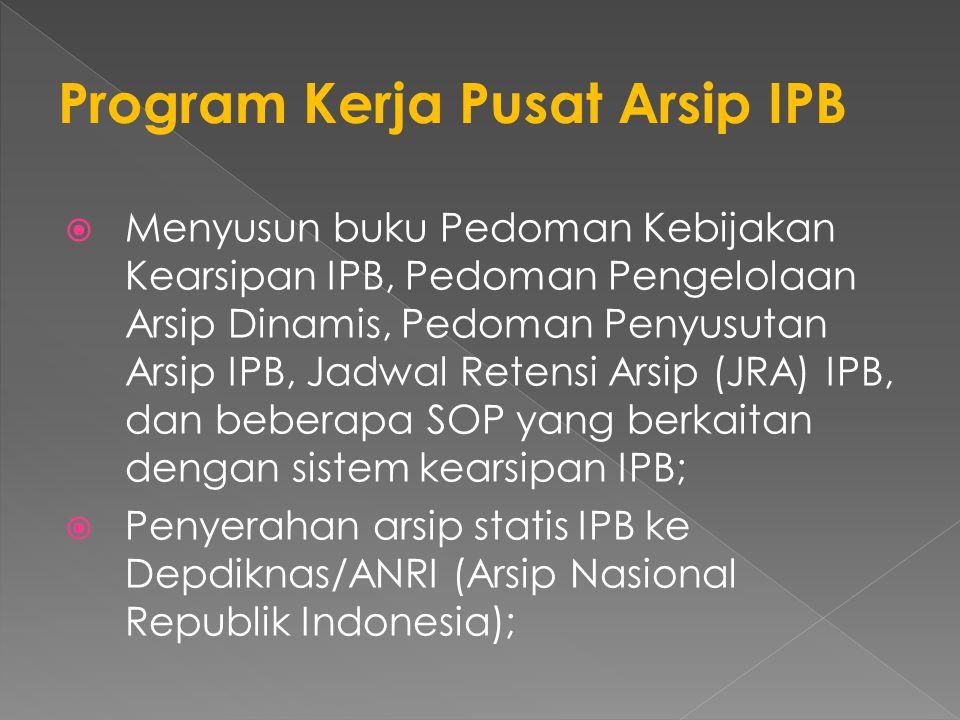  Menyusun buku Pedoman Kebijakan Kearsipan IPB, Pedoman Pengelolaan Arsip Dinamis, Pedoman Penyusutan Arsip IPB, Jadwal Retensi Arsip (JRA) IPB, dan