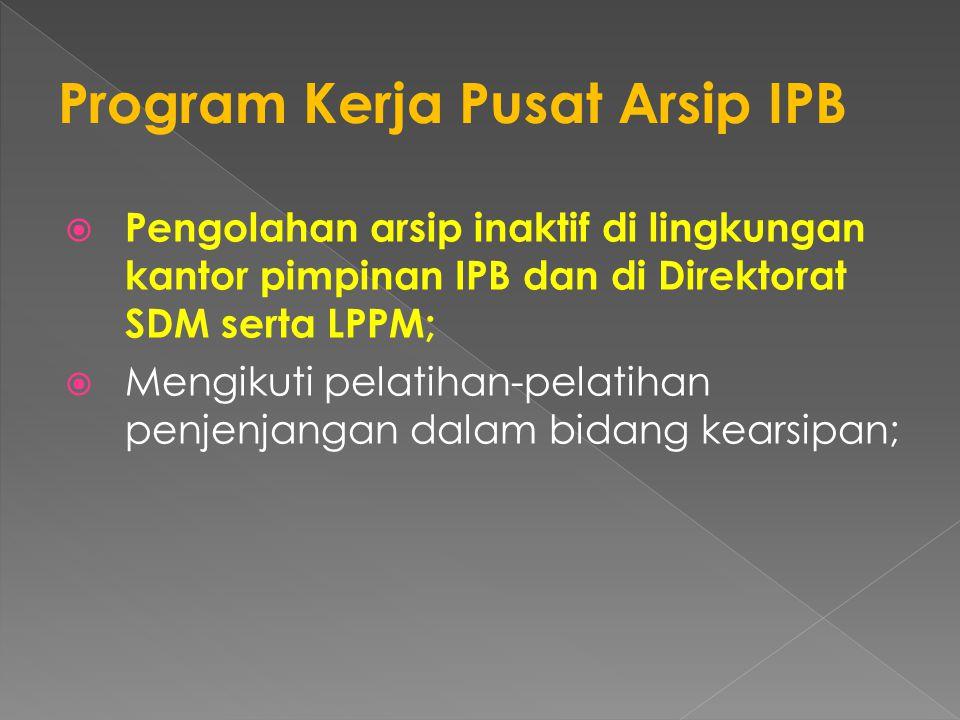  Pengolahan arsip inaktif di lingkungan kantor pimpinan IPB dan di Direktorat SDM serta LPPM;  Mengikuti pelatihan-pelatihan penjenjangan dalam bidang kearsipan;
