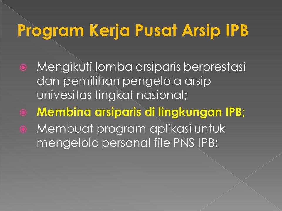  Mengikuti lomba arsiparis berprestasi dan pemilihan pengelola arsip univesitas tingkat nasional;  Membina arsiparis di lingkungan IPB;  Membuat program aplikasi untuk mengelola personal file PNS IPB;