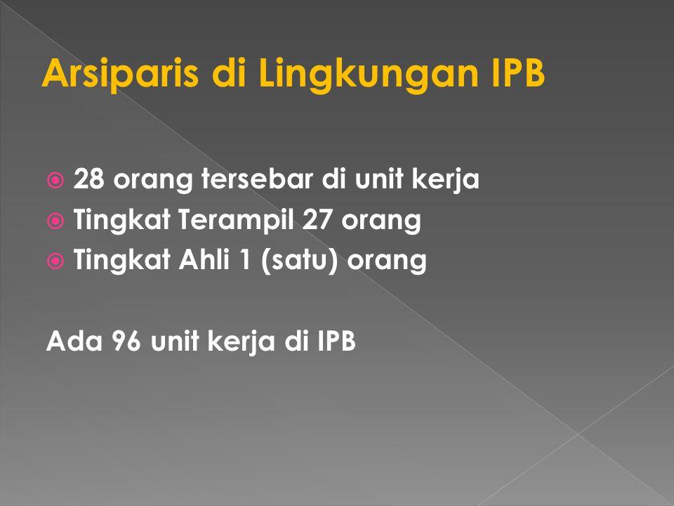 28 orang tersebar di unit kerja  Tingkat Terampil 27 orang  Tingkat Ahli 1 (satu) orang Ada 96 unit kerja di IPB