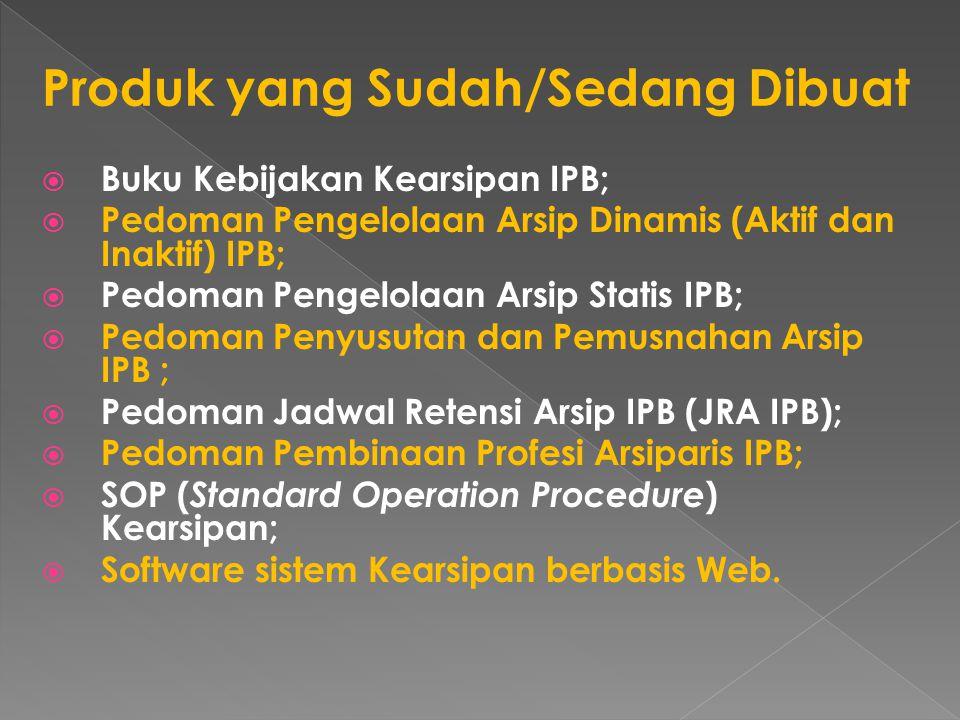  Buku Kebijakan Kearsipan IPB;  Pedoman Pengelolaan Arsip Dinamis (Aktif dan Inaktif) IPB;  Pedoman Pengelolaan Arsip Statis IPB;  Pedoman Penyusu