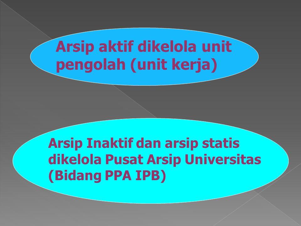 Arsip aktif dikelola unit pengolah (unit kerja) Arsip Inaktif dan arsip statis dikelola Pusat Arsip Universitas (Bidang PPA IPB)
