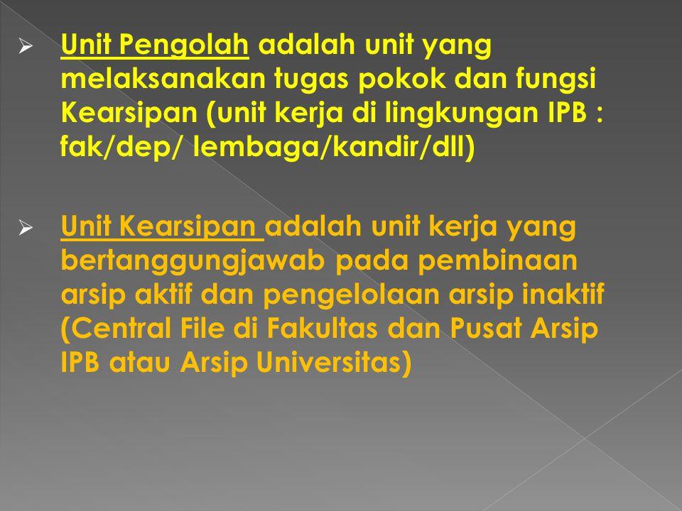  Unit Pengolah adalah unit yang melaksanakan tugas pokok dan fungsi Kearsipan (unit kerja di lingkungan IPB : fak/dep/ lembaga/kandir/dll)  Unit Kearsipan adalah unit kerja yang bertanggungjawab pada pembinaan arsip aktif dan pengelolaan arsip inaktif (Central File di Fakultas dan Pusat Arsip IPB atau Arsip Universitas)