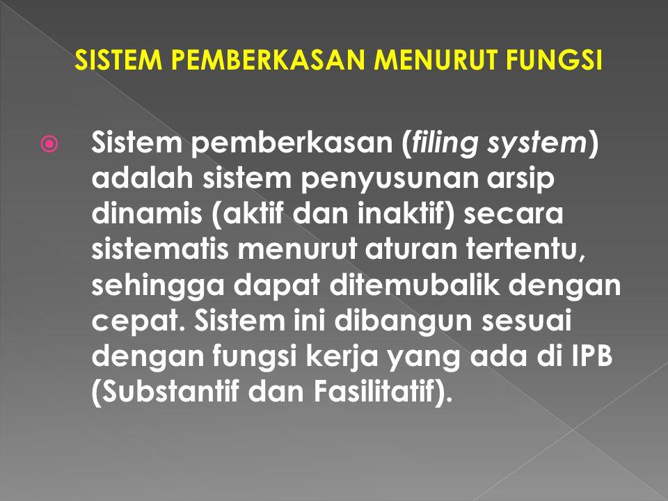 SISTEM PEMBERKASAN MENURUT FUNGSI  Sistem pemberkasan ( filing system ) adalah sistem penyusunan arsip dinamis (aktif dan inaktif) secara sistematis menurut aturan tertentu, sehingga dapat ditemubalik dengan cepat.