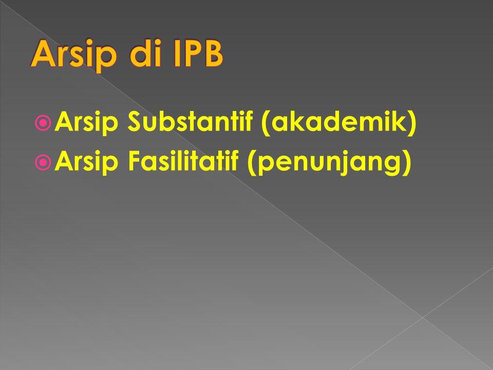  Arsip Substantif (akademik)  Arsip Fasilitatif (penunjang)
