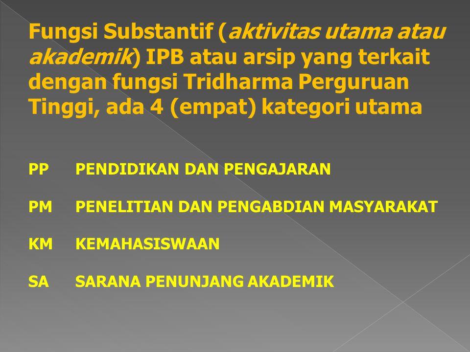 Fungsi Substantif (aktivitas utama atau akademik) IPB atau arsip yang terkait dengan fungsi Tridharma Perguruan Tinggi, ada 4 (empat) kategori utama PPPENDIDIKAN DAN PENGAJARAN PMPENELITIAN DAN PENGABDIAN MASYARAKAT KMKEMAHASISWAAN SASARANA PENUNJANG AKADEMIK