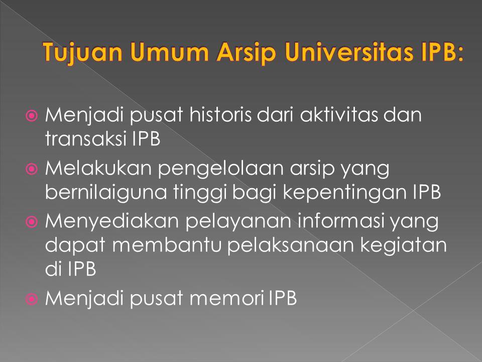  Menjadi pusat historis dari aktivitas dan transaksi IPB  Melakukan pengelolaan arsip yang bernilaiguna tinggi bagi kepentingan IPB  Menyediakan pe