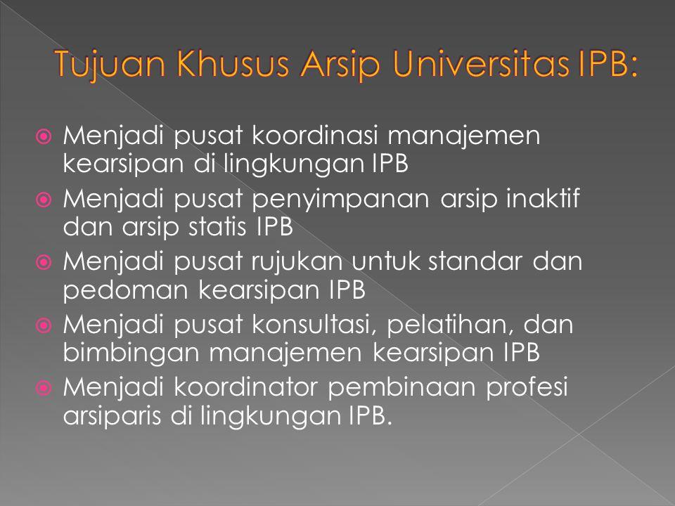  Menjadi pusat koordinasi manajemen kearsipan di lingkungan IPB  Menjadi pusat penyimpanan arsip inaktif dan arsip statis IPB  Menjadi pusat rujuka