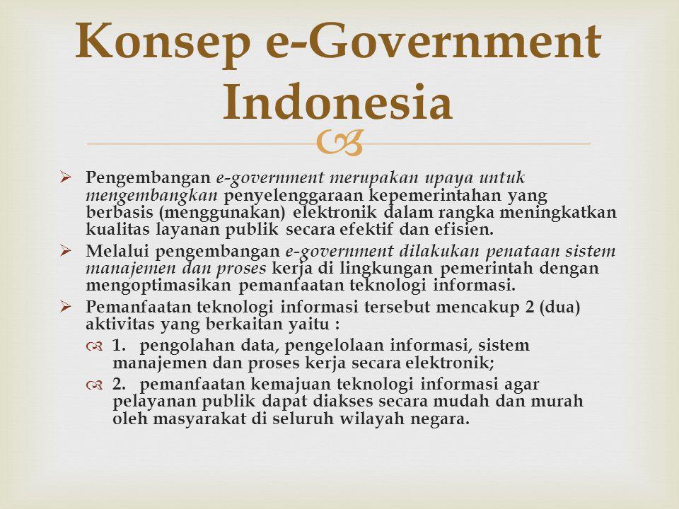   Pengembangan e-government merupakan upaya untuk mengembangkan penyelenggaraan kepemerintahan yang berbasis (menggunakan) elektronik dalam rangka meningkatkan kualitas layanan publik secara efektif dan efisien.