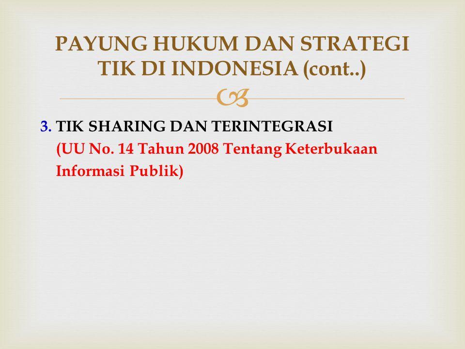  3. TIK SHARING DAN TERINTEGRASI (UU No. 14 Tahun 2008 Tentang Keterbukaan Informasi Publik) PAYUNG HUKUM DAN STRATEGI TIK DI INDONESIA (cont..)