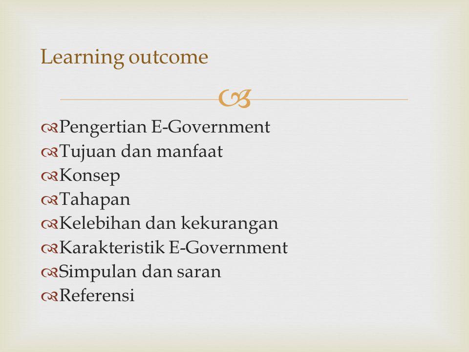   Pengertian E-Government  Tujuan dan manfaat  Konsep  Tahapan  Kelebihan dan kekurangan  Karakteristik E-Government  Simpulan dan saran  Ref