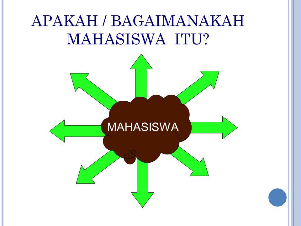 APAKAH / BAGAIMANAKAH MAHASISWA ITU? MAHASISWA