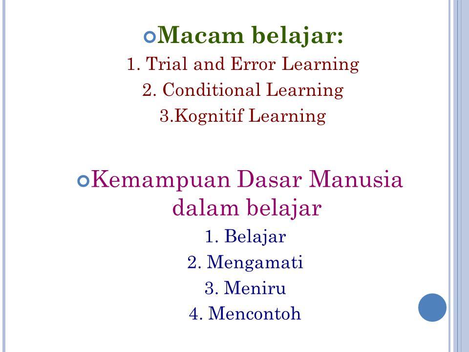 Macam belajar: 1. Trial and Error Learning 2. Conditional Learning 3.Kognitif Learning Kemampuan Dasar Manusia dalam belajar 1. Belajar 2. Mengamati 3