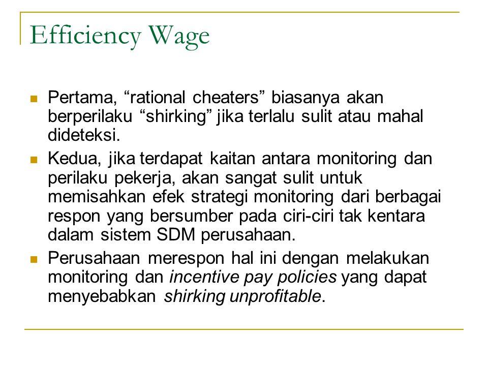 """Efficiency Wage  Pertama, """"rational cheaters"""" biasanya akan berperilaku """"shirking"""" jika terlalu sulit atau mahal dideteksi.  Kedua, jika terdapat ka"""
