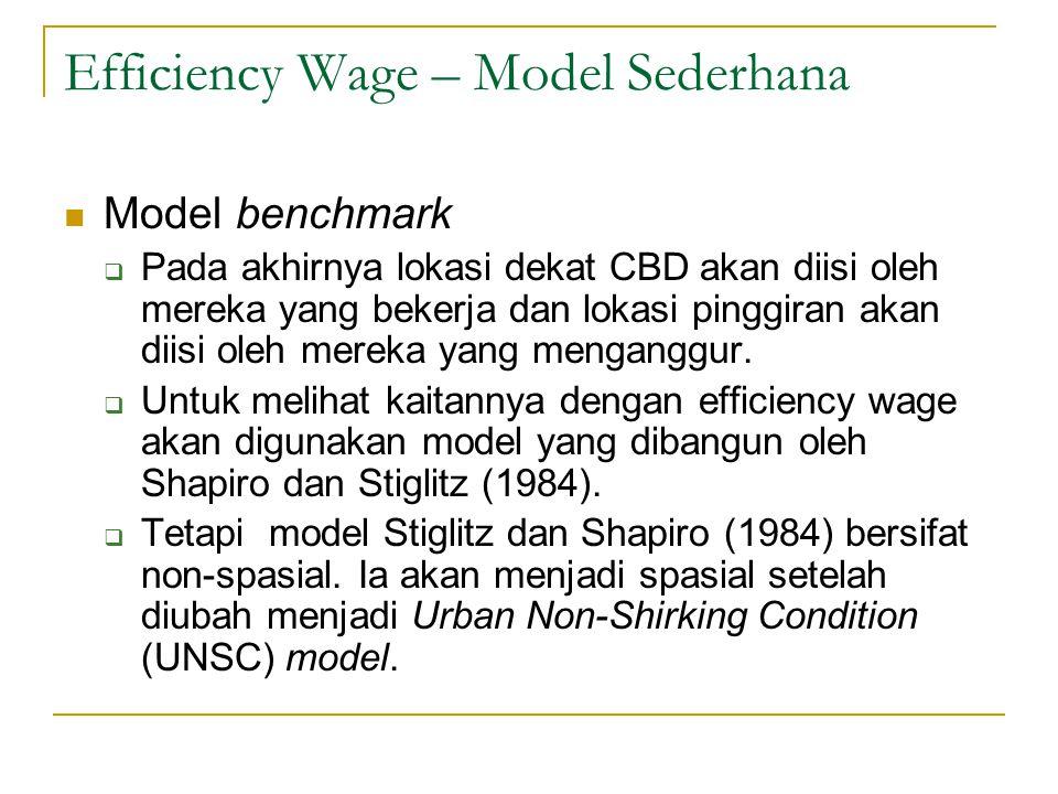 Efficiency Wage – Model Sederhana  Model benchmark  Pada akhirnya lokasi dekat CBD akan diisi oleh mereka yang bekerja dan lokasi pinggiran akan dii