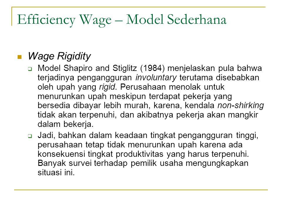Efficiency Wage – Model Sederhana  Wage Rigidity  Model Shapiro and Stiglitz (1984) menjelaskan pula bahwa terjadinya pengangguran involuntary terut
