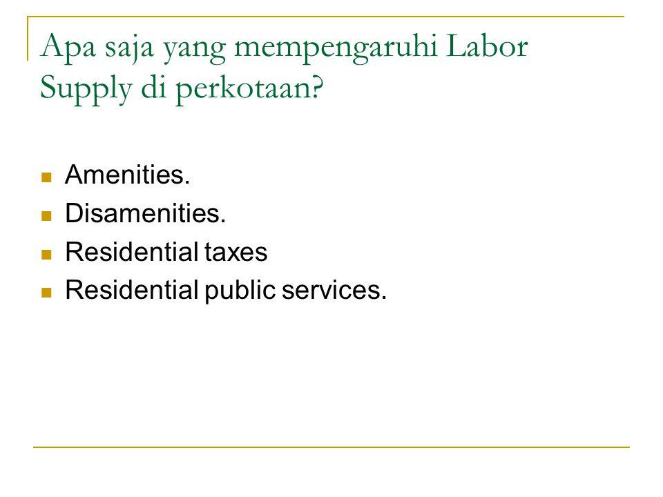 Apa saja yang mempengaruhi Labor Supply di perkotaan?  Amenities.  Disamenities.  Residential taxes  Residential public services.