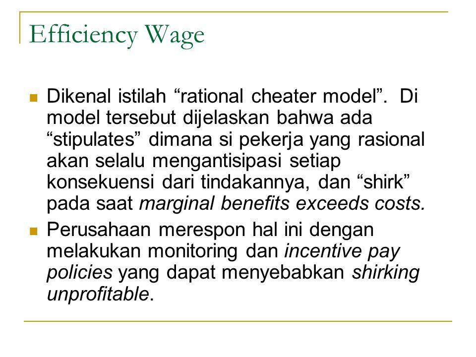 Efficiency Wage  Capelin dan Chauvin (1991) menguji efficiency wage dengan mengukur hubungan antara jumlah pegawai yang disiplin dengan upah tertinggi antar perusahaan.