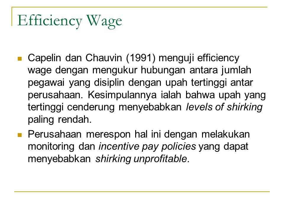 Efficiency Wage  Capelin dan Chauvin (1991) menguji efficiency wage dengan mengukur hubungan antara jumlah pegawai yang disiplin dengan upah tertingg