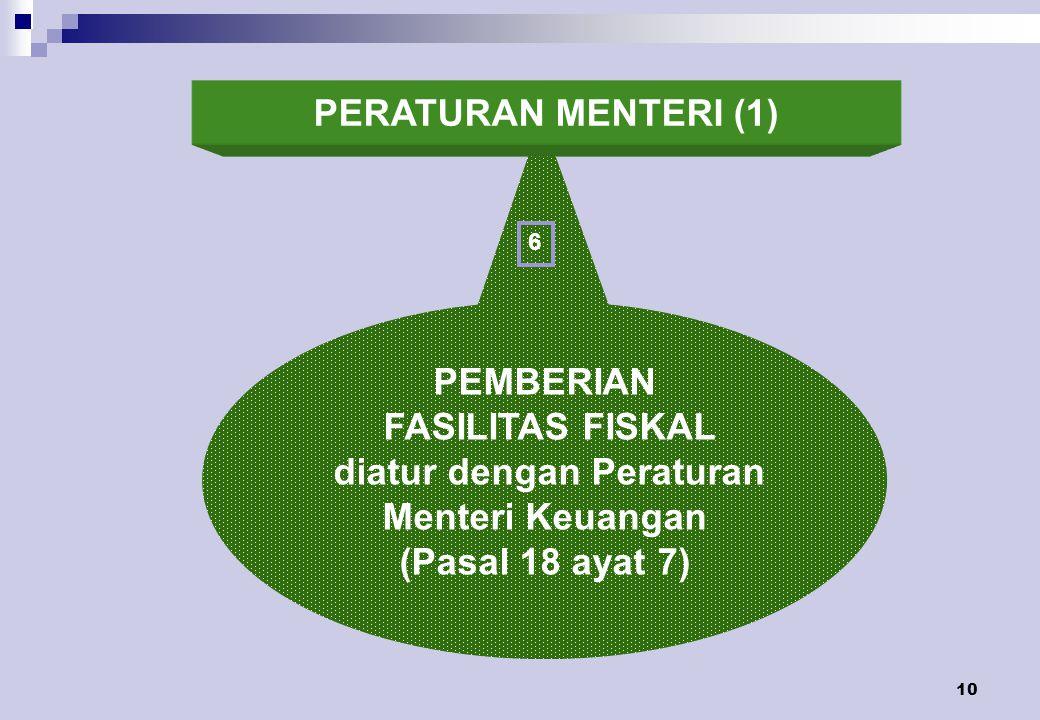 10 PEMBERIAN FASILITAS FISKAL diatur dengan Peraturan Menteri Keuangan (Pasal 18 ayat 7) 6 PERATURAN MENTERI (1)