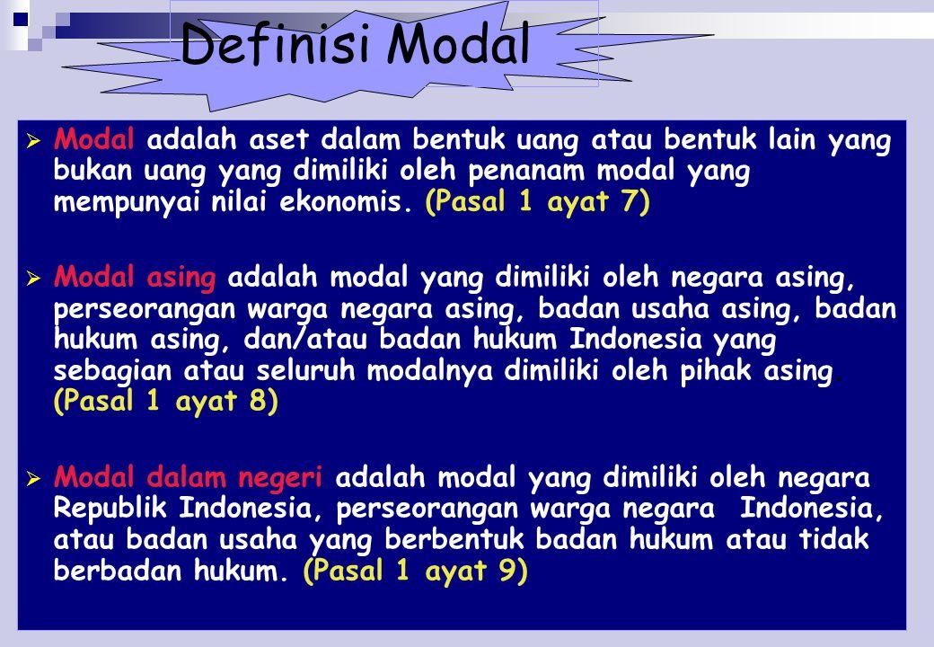12 Definisi Modal  Modal adalah aset dalam bentuk uang atau bentuk lain yang bukan uang yang dimiliki oleh penanam modal yang mempunyai nilai ekonomis.