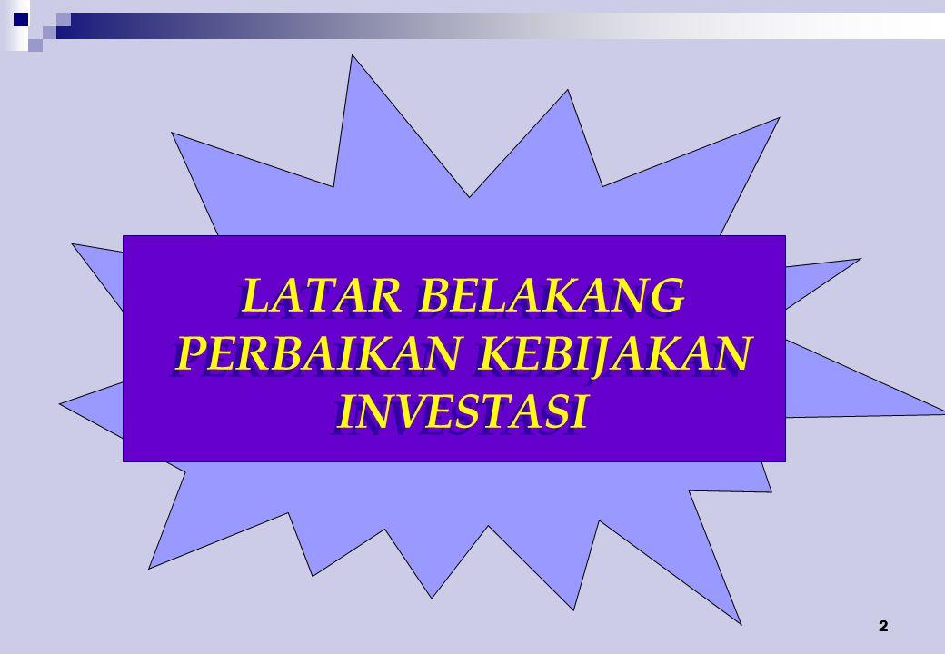 13 Ruang Lingkup (Pasal 2 +Penjelasan) Semua sektor di wilayah Negara Republik Indonesia kecuali penanaman modal tidak langsung (portofolio).