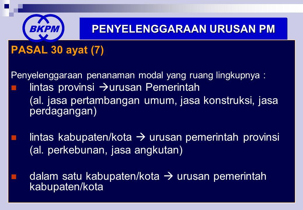 40 PENYELENGGARAAN URUSAN PM PASAL 30 ayat (7) Penyelenggaraan penanaman modal yang ruang lingkupnya :  lintas provinsi  urusan Pemerintah (al.