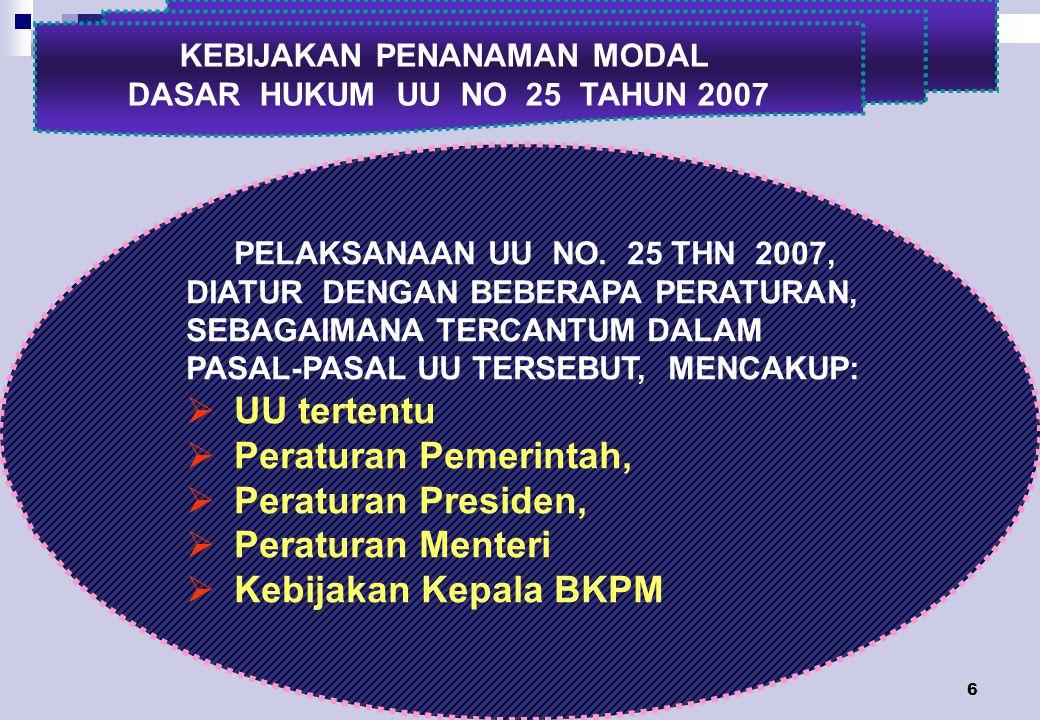 6 KEBIJAKAN PENANAMAN MODAL DASAR HUKUM UU NO 25 TAHUN 2007 PELAKSANAAN UU NO.
