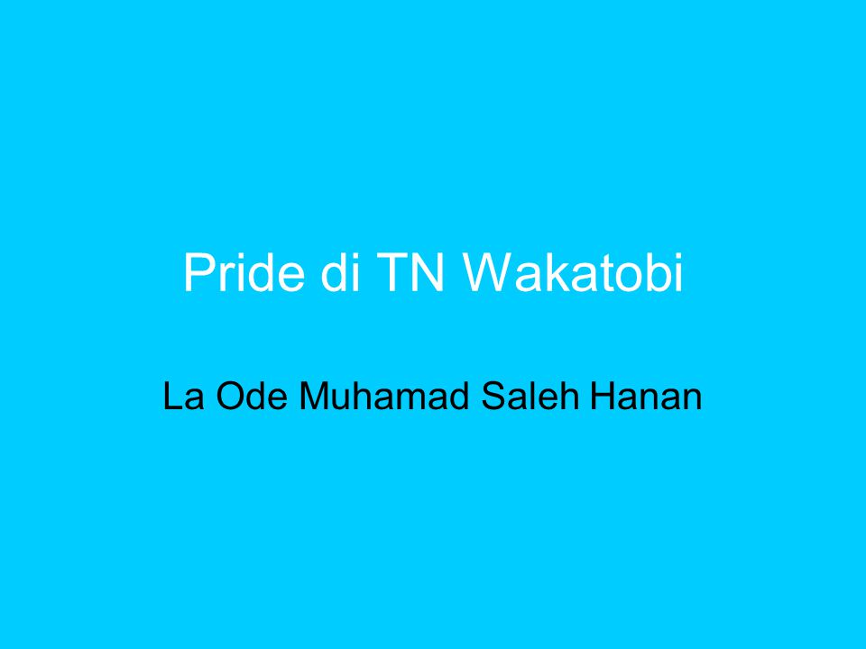 Pride di TN Wakatobi La Ode Muhamad Saleh Hanan