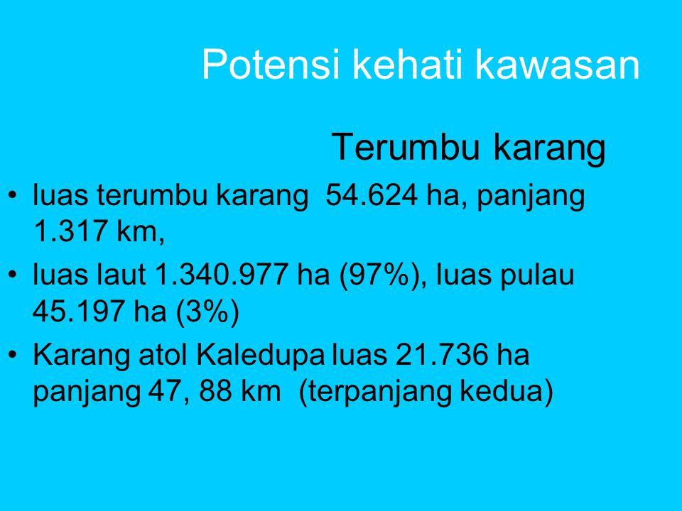 Potensi kehati kawasan Terumbu karang •luas terumbu karang 54.624 ha, panjang 1.317 km, •luas laut 1.340.977 ha (97%), luas pulau 45.197 ha (3%) •Karang atol Kaledupa luas 21.736 ha panjang 47, 88 km (terpanjang kedua)