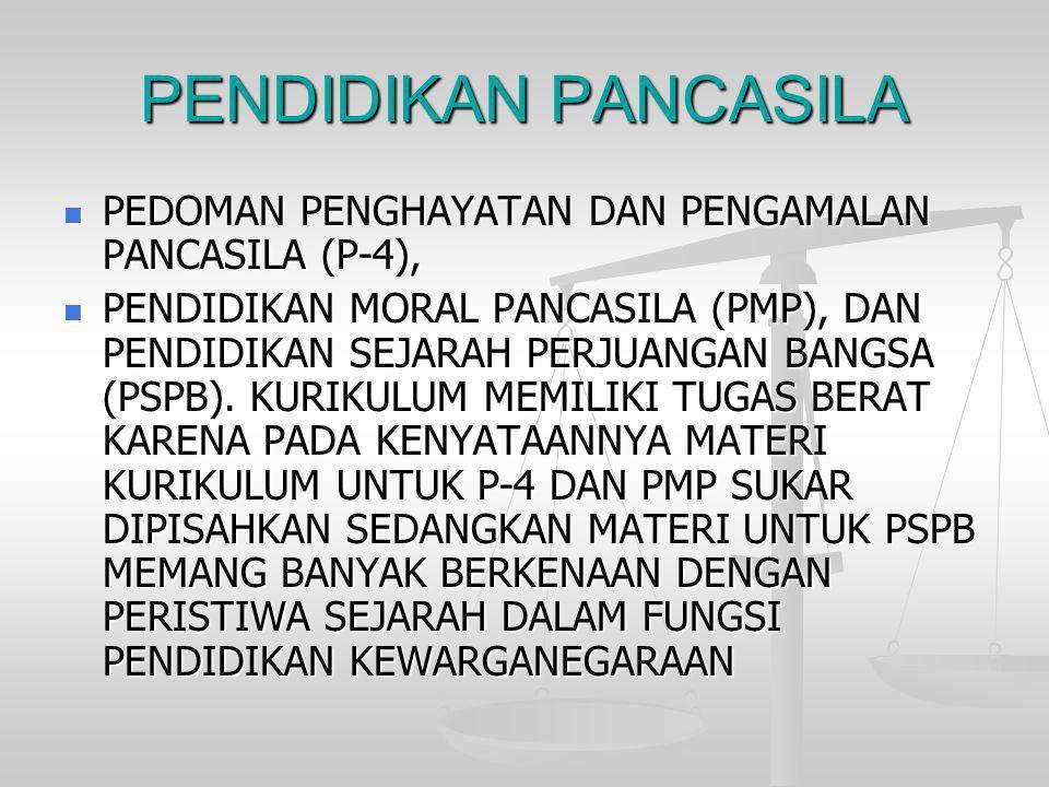 PENDIDIKAN PANCASILA  PEDOMAN PENGHAYATAN DAN PENGAMALAN PANCASILA (P-4),  PENDIDIKAN MORAL PANCASILA (PMP), DAN PENDIDIKAN SEJARAH PERJUANGAN BANGS