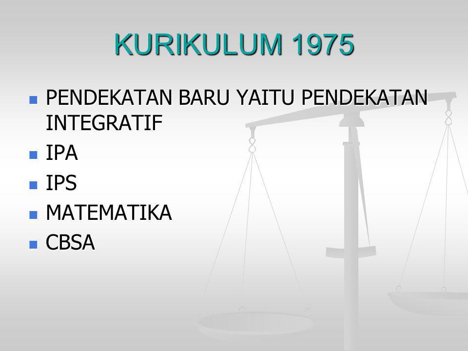 KURIKULUM 1975  PENDEKATAN BARU YAITU PENDEKATAN INTEGRATIF  IPA  IPS  MATEMATIKA  CBSA