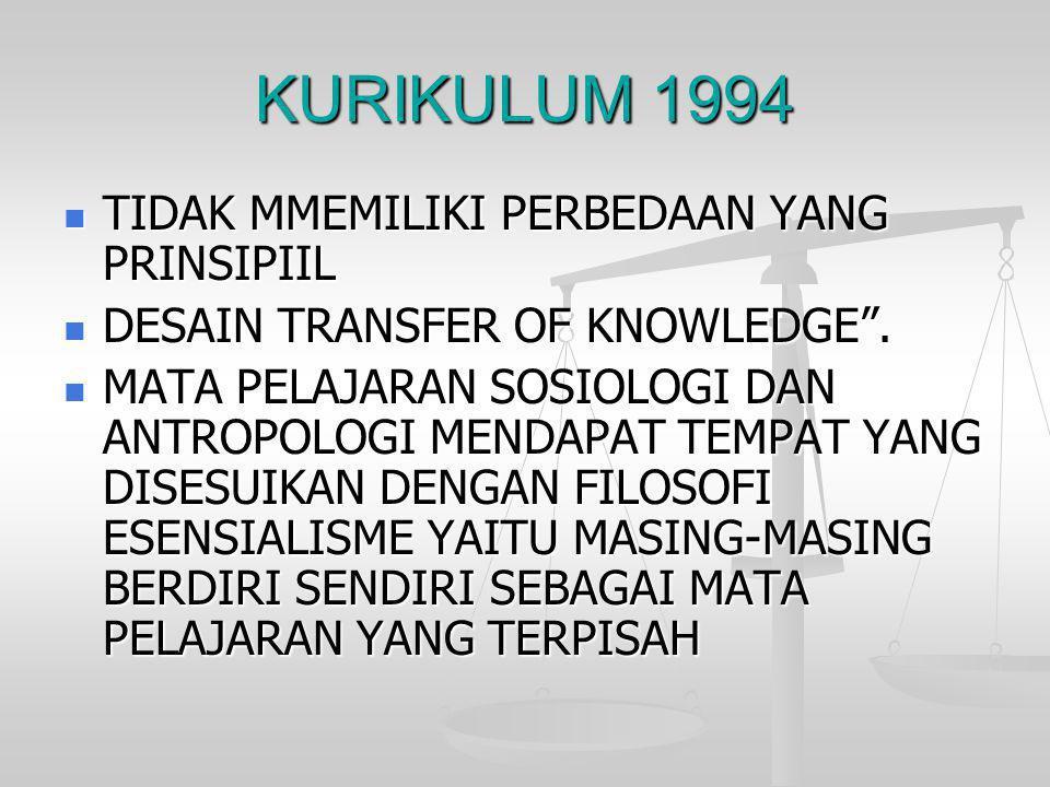 """KURIKULUM 1994  TIDAK MMEMILIKI PERBEDAAN YANG PRINSIPIIL  DESAIN TRANSFER OF KNOWLEDGE"""".  MATA PELAJARAN SOSIOLOGI DAN ANTROPOLOGI MENDAPAT TEMPAT"""