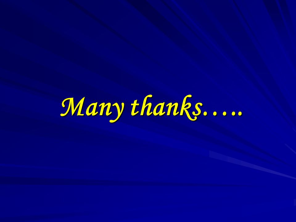 Many thanks…..