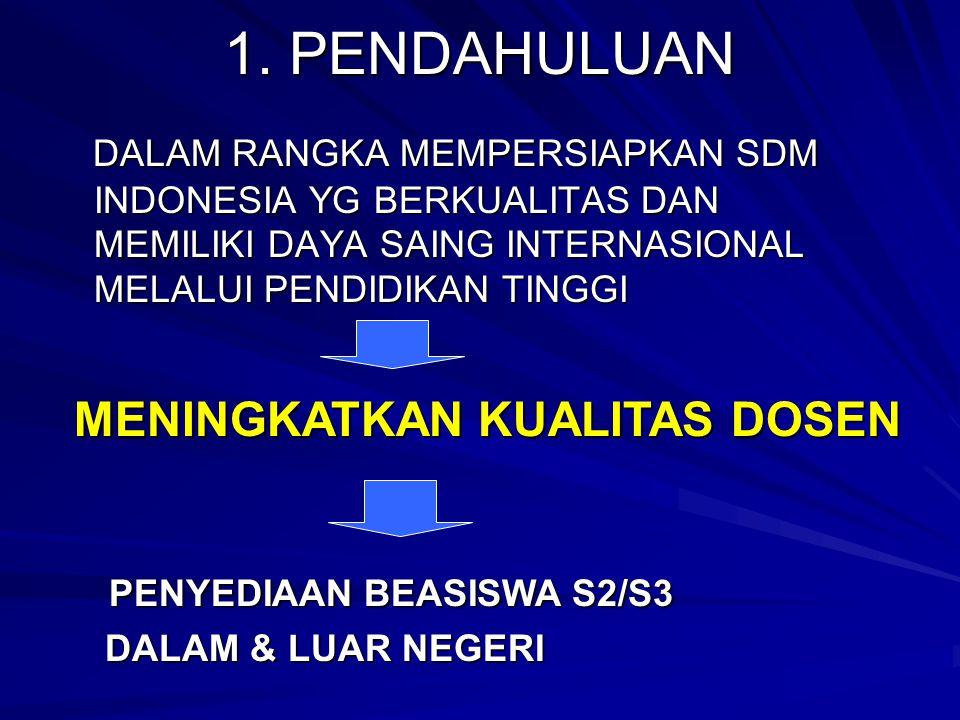 1. PENDAHULUAN DALAM RANGKA MEMPERSIAPKAN SDM INDONESIA YG BERKUALITAS DAN MEMILIKI DAYA SAING INTERNASIONAL MELALUI PENDIDIKAN TINGGI DALAM RANGKA ME